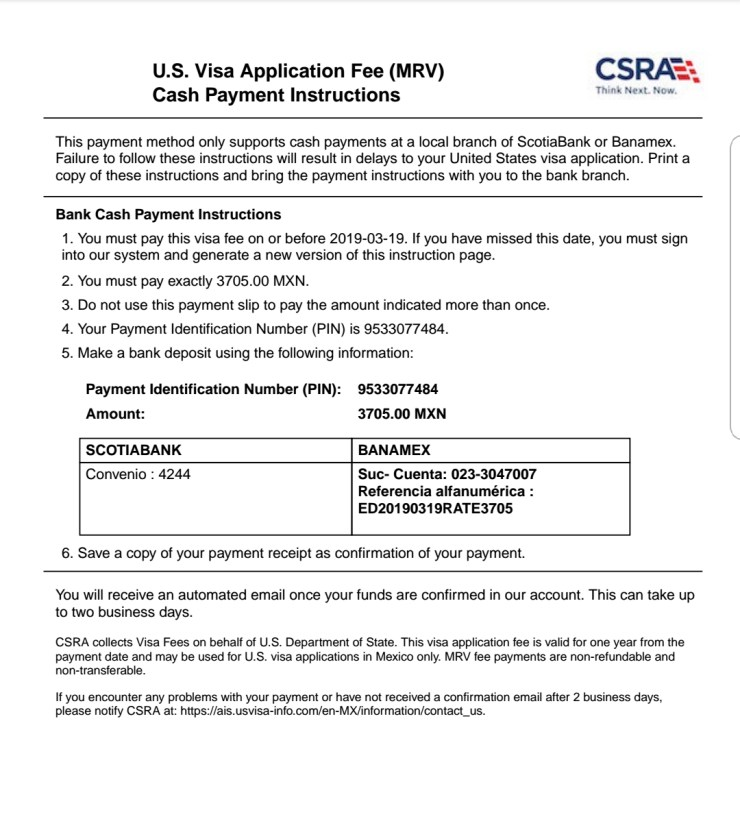 US Visa Application Fee Payment instructions (MRV form) to Pay by Cash in Mexican banks in pesos in Mexico - Visa Services Matamoros- Nogales - Mexico city - Tijuana - nuevo Laredo