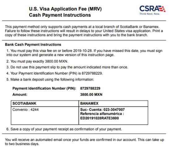 US Visa Fee Payment Instructions MRV Fee Payment Form Cash Payment in Mexico Scotia or BanAmex Banks Tijuana Matamoros Nogales Nuevo Laredo Cuidad Juarez Hermosillo Monterrey Guadalajara