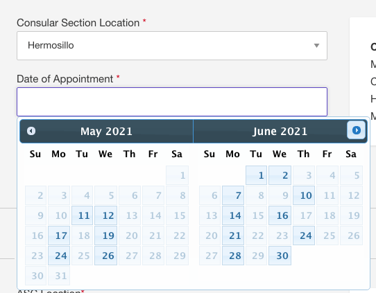 Current Visa Appointment Interview Dates Availability in Mexico 2021 8 Mexico US Visa Stamping Visa Info H1B Appointment