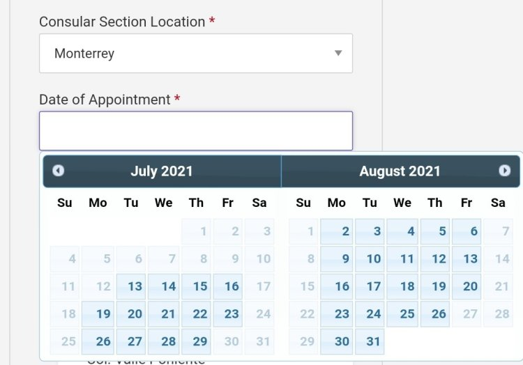 Current Visa Appointment Interview Dates Availability in Mexico 2021 5 Mexico US Visa Stamping Visa Info H1B Appointment