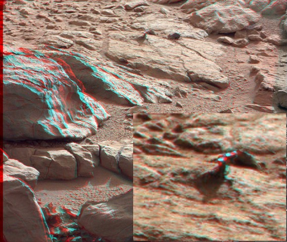 3-D anaglyph from the right and left Mastcam from Curiosity showing the metal-looking protuberance. Credit: NASA/JPL/Caltech/Malin Space Science Systems. Anaglyph by