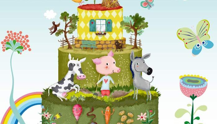 illustration funny farm as wedding cake by uta-k
