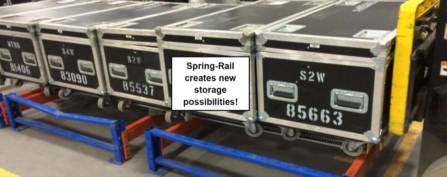 Spring-Rail Pushback Pallet Rack storing metal trunks