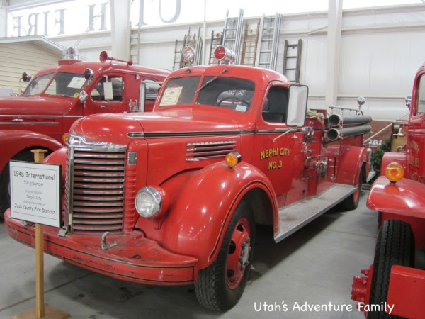 We took this picture just for our Grandpa. It's a 1948 fire engine from Nephi City-- we thought he might remember seeing it!