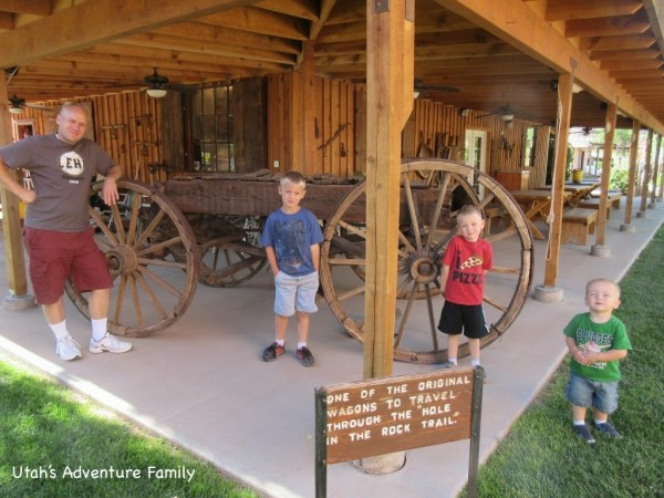 Here is one of the original wagons that traveled down Hole in the Rock.
