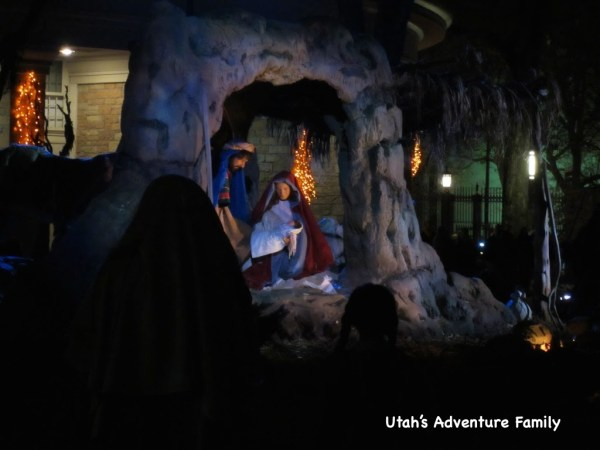 The Nativity being lit up as scriptures are read