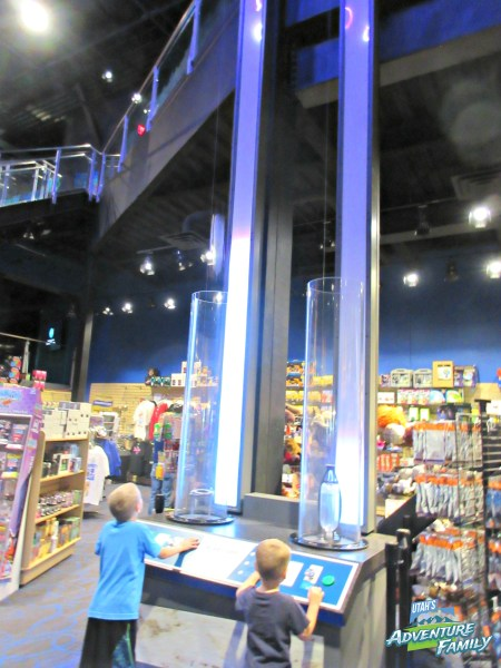 This rocket launching exhibit is next to the gift shop, so we don't want you to miss it. It is a fun one to try!