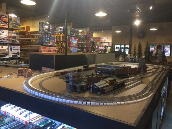 You will see a few train displays when you enter the store, but the fun stuff is in the back behind the registers.