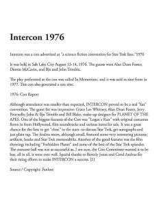 Intercon info from Michael Goodwin