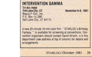 Intervention Gamma mention in Oct 1981 Starlog