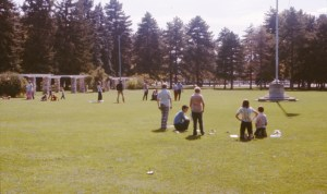 Star Trek in the park - people with ships on grass (slide dated Dec 1975 Num 13) (smaller)