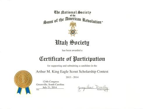 Arthur M. King Eagle Scout Scholarship