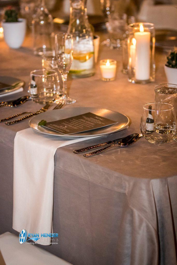 place setting winter wonderland wedding