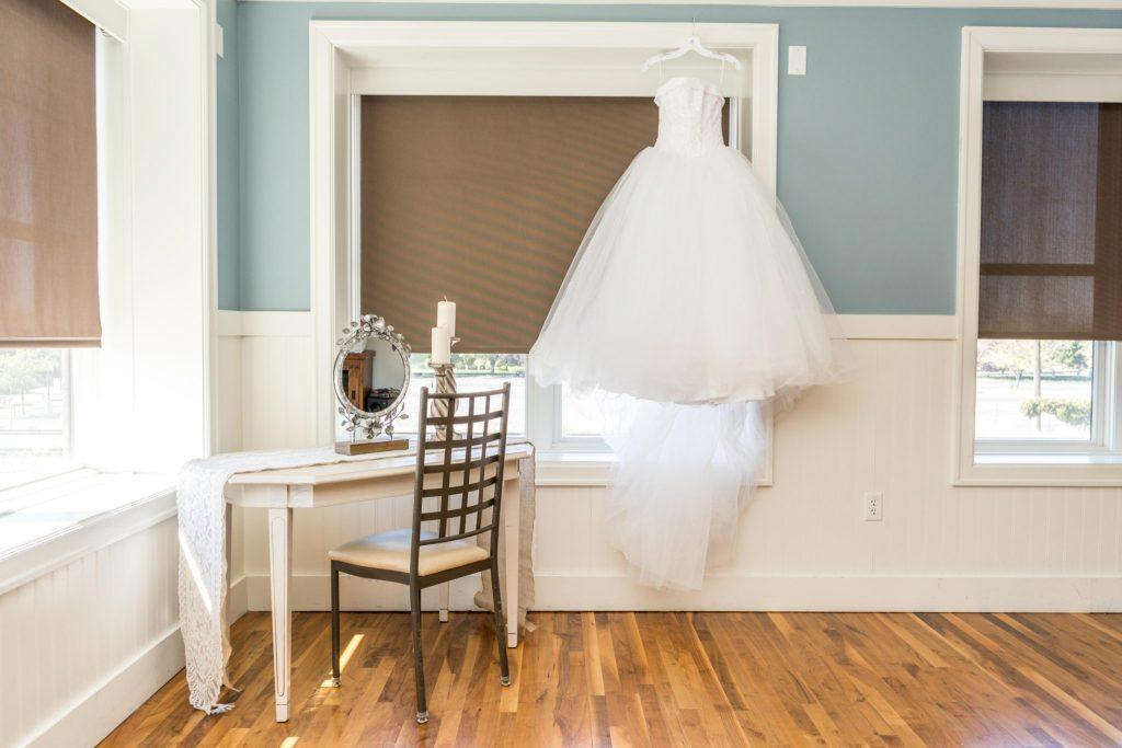bridal gown hanging noah's wedding venue utah