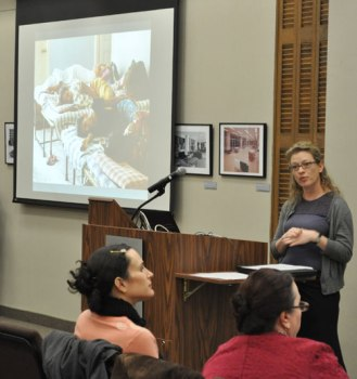 Assistant Professor Amy Speier (Anthropology) talks during a Feb. 10 lecture event on South Asia in the Central Library Sixth Floor Parlor.