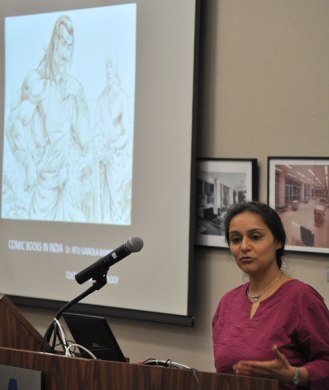 Assistant Professor Ritu Khanduri (Anthropology) talks about comic books in India during a Feb. 10 lecture event on South Asia in the Central Library Sixth Floor Parlor.