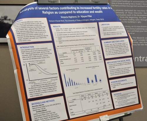 """UT Arlington student Victoria Highland presented """"Analysis of several factors contributing to increased fertility rates in India: Religion as compared to Education and Wealth"""" on a poster during the Women's & Gender Studies' Women's History Month student conference March 25. (Photo by James Dunning/COLA)"""