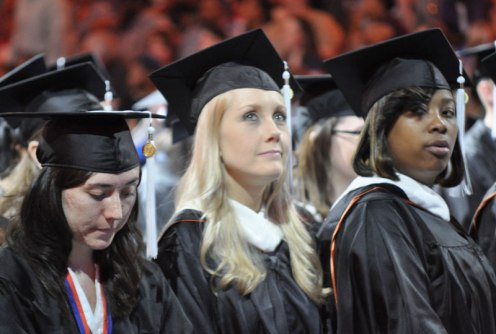 Students during the processional of the May 2014 College of Liberal Arts Commencement ceremony May 9, 2014, at the College Park Center. (Photo by James Dunning)