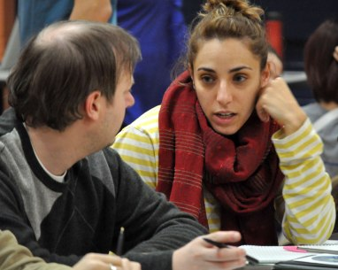 UTA Dance Ensemble Director Danielle Marie Georgiou, right, talks to a member of her production team before rehearsals Wednesday, Nov. 25. (Photo by James Dunning/COLA Communications)