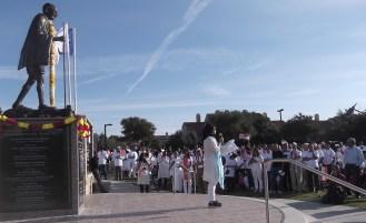 Sukanya Gandhi Bharat Ram spoke at an Oct. 3 peace march and rally at Mahatma Gandhi Memorial Plaza in Irving, Texas. (Photo by Ritu Khanduri)