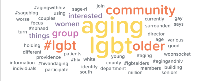 Word cloud of terms used in search for LGBT Aging.