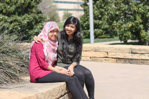Parthasarathy S.K.  Staff Business administration freshman Zarifa Barkatullah (left) and accounting junior Zarah Barkatullah are sisters and believe wearing the hijab goes along with commitments like eating halal food.