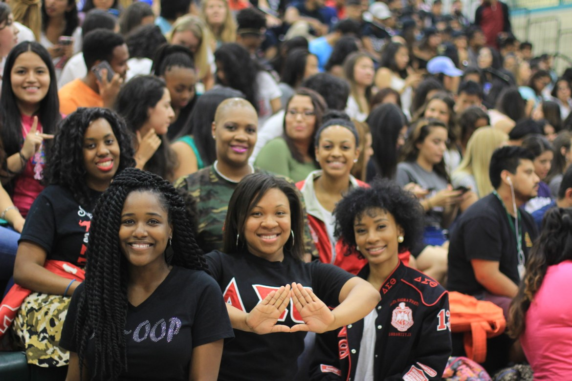La'Tressa Graham (far right), a psychology senior, is a member of Delta Sigma Theta sorority, which is part of the National Pan-Hellenic Council in UTD's Greek community. Currently, there are 12 members in the NPHC. Photo by Ankith Averineni | Mercury Staff.