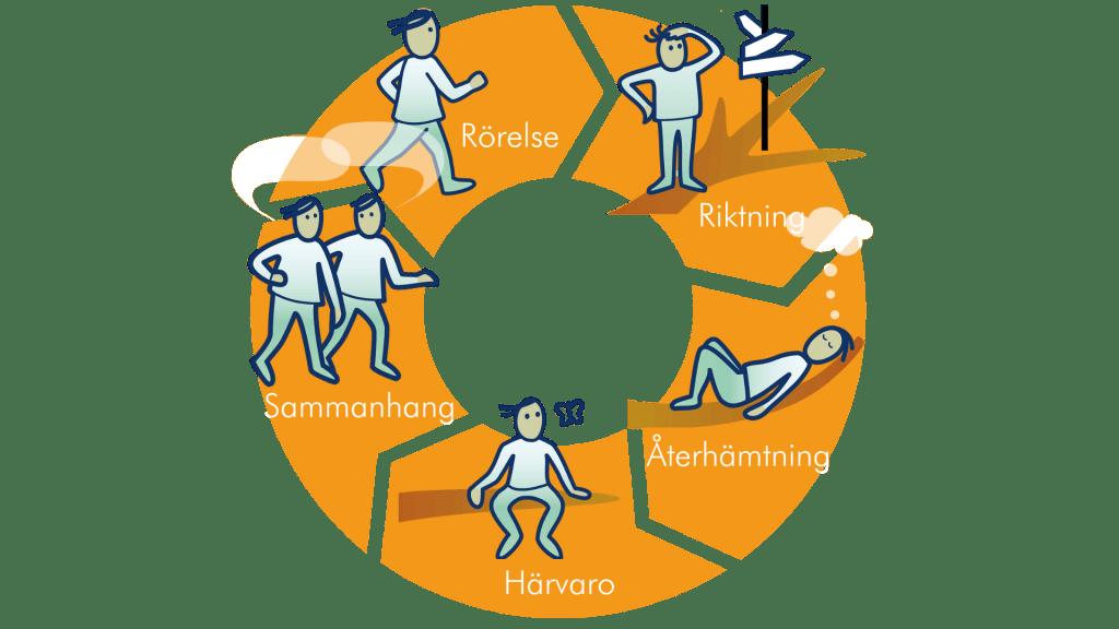 Stigmetodens fem delar: Rörelse, riktning, återhämtning, härvaro och sammanhang.