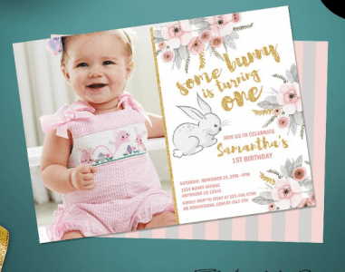 Cute First Birthday Party Invitation