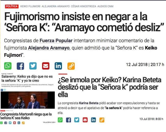 -ya, confiesa, ¿quién es la señora K? -ven Kaori hijita ven. Imagen: titulares tomados de los diarios La República y La Industria