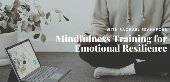 Event Banner: The event banner is a photo of someone meditating next to a computer with text on top that states the speaker of the event: Rachel Frankfort. The title of the event is 'Mindfulness Training for Emotional Resilience.""