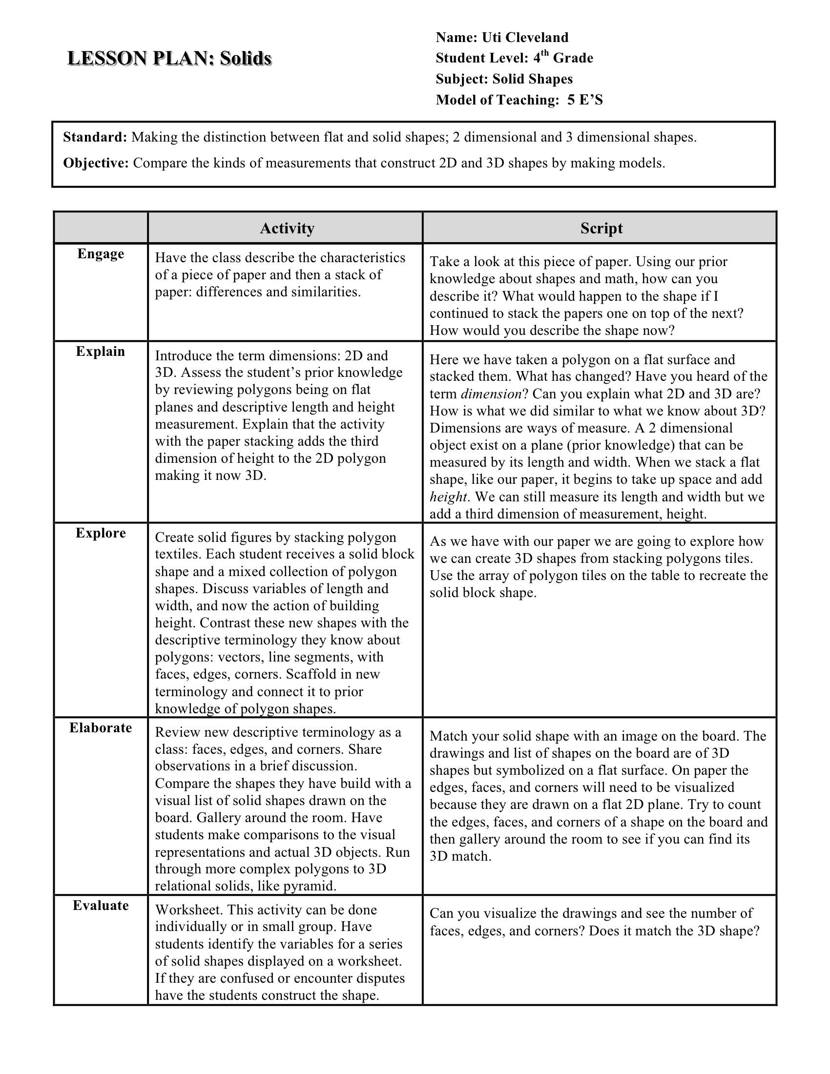 Curriculum Examples