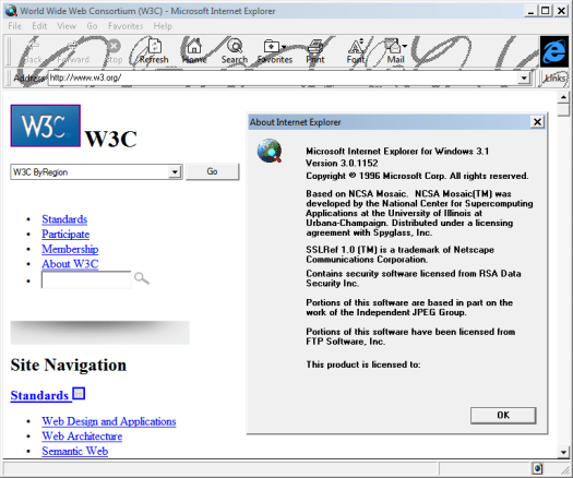 Internet Explorer 3.0 (3.0.1152) in Windows 7