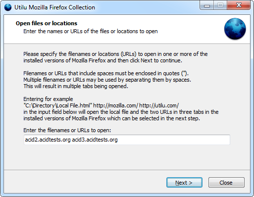 Utilu Mozilla Firefox Collection: Открытые файлы или места