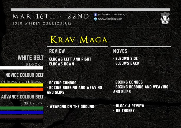 This week's Krav Maga curriculum: Mar 16th - 23rd