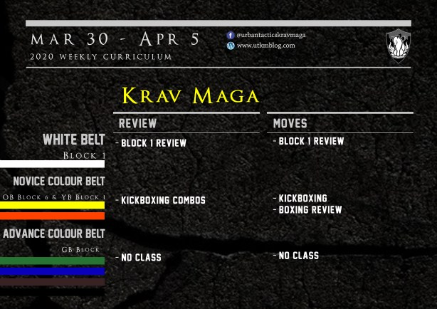 This week's Krav Maga curriculum: Mar 30th - Apr 5th