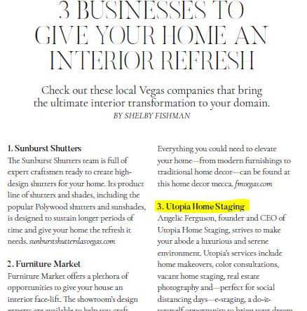 Utopia Home Staging featured in Vegas Magazine