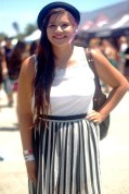 Lindsey, 18, tries the dyed hair trend prevalent at Warped Tour San Antonio. She rounds it off with a smart hat and striped maxi skirt.