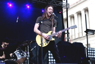 The lead singer of Ben Baxter hits a high note during his set.