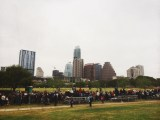 A morning of April showers didn't stop crowds from gathering toward the finish line to cheer on the runners.