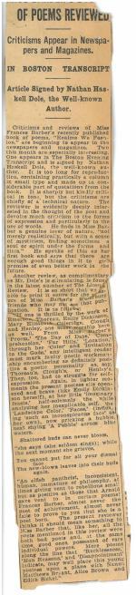Newspaper article laid in. Realms We Fashion: A Book of Poems (1923) by Frances Barber.