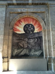 The highlight of the interior decoration is a series of monumental frescoes by José Clemente Orozco, including one of his most famed creations, the allegory of The Man of Fire (1936–39).