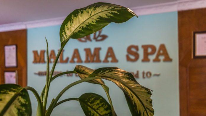 Sign board of Malama spa
