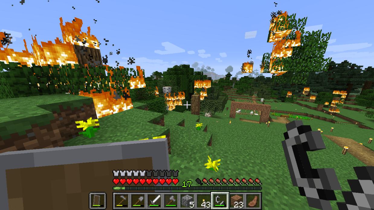 マイクラ 木を燃やす