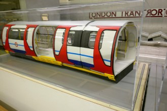 "A model of a concept ""Spacetrain"" designed as a possible replacement for the Victoria line's original 1967 stock. A cheaper and more conventional design was eventually chosen."