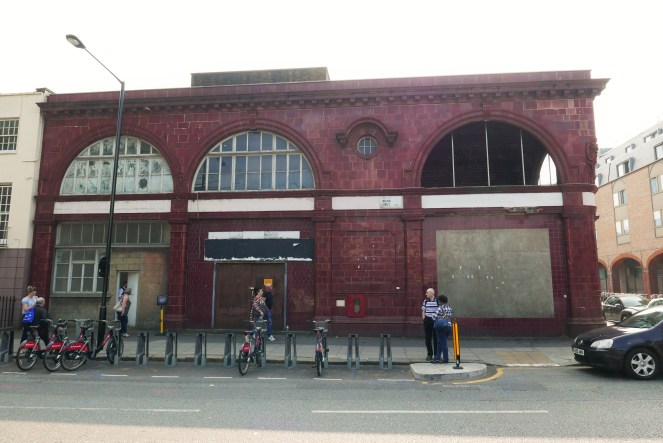 The original entrance building to what became the Charing Cross branch of the Northern Line.