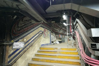 Connecting tunnels between the the lift landing and platforms. These areas have been repurposed to carry cabling and ventilation equipment.