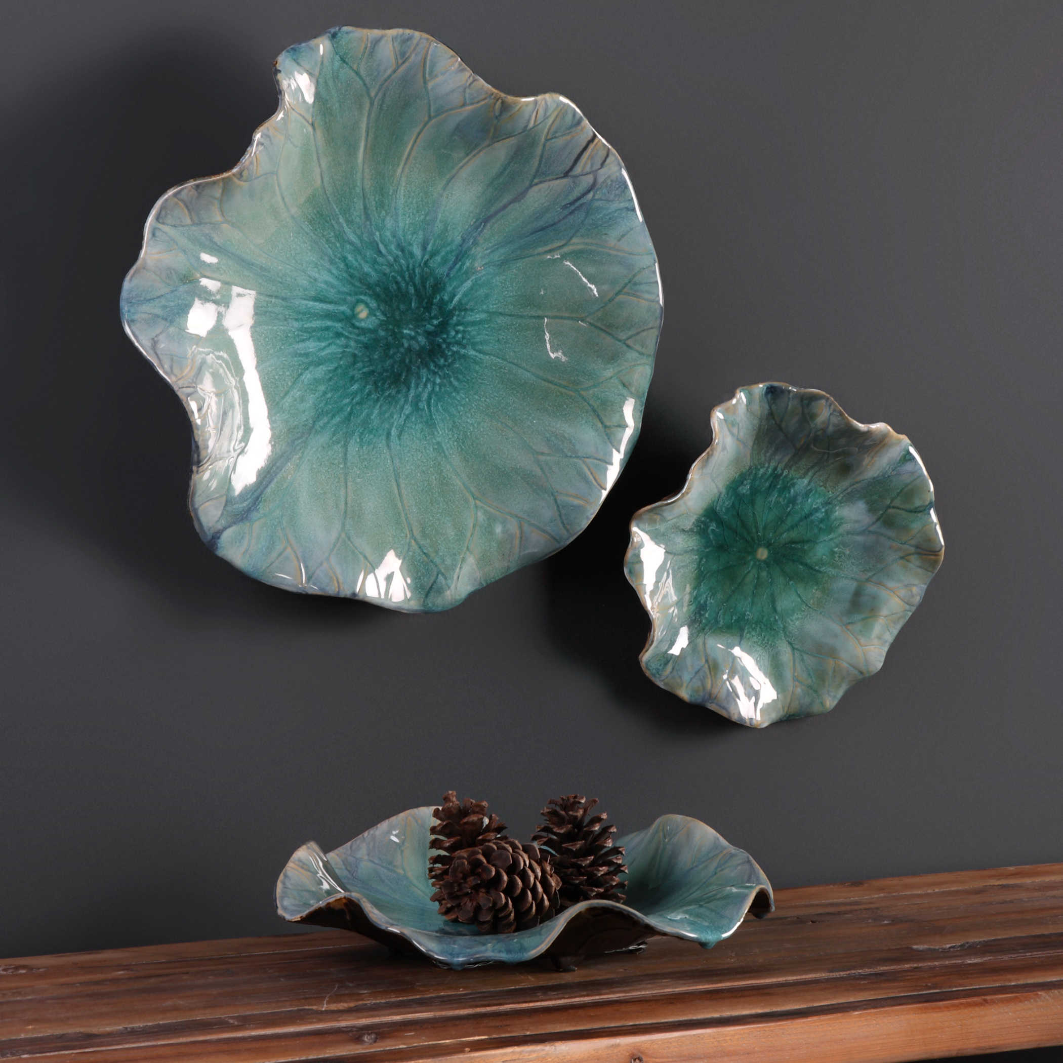Uttermost Abella Ceramic Flowers, S/3 on Hanging Wall Sconces For Flowers id=29123