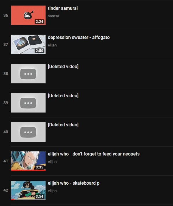 deleted video from YouTube playlist