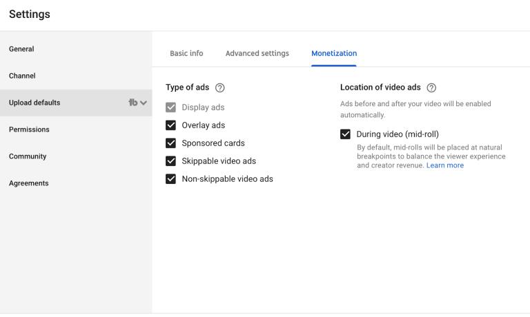 monetization upload default settings